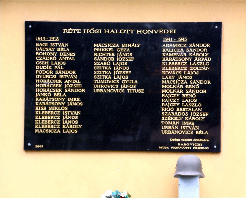Az 1. és 2. világháború hősi halottjainak emlékműve