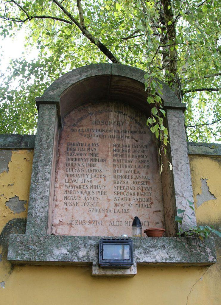 Az első világháború áldozatainak emléktáblája