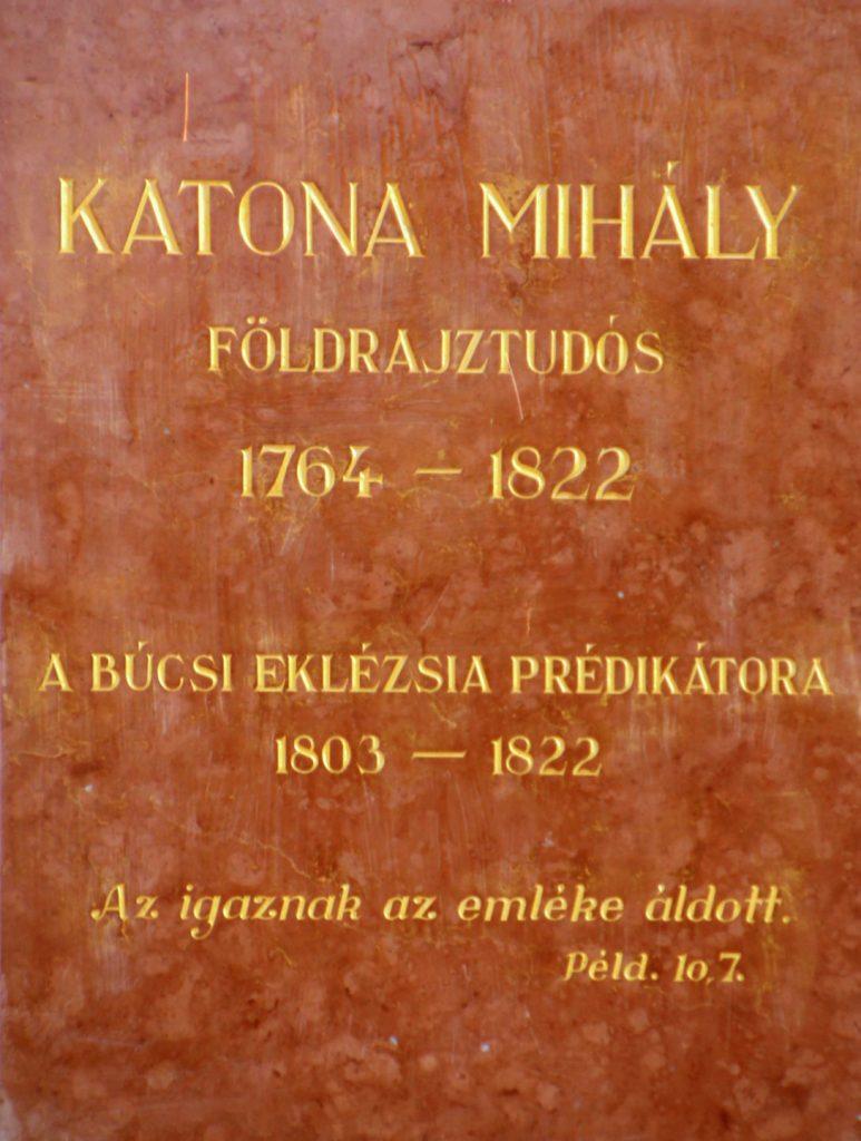 Katona Mihály földrajztudós, prédikátor emléktáblája