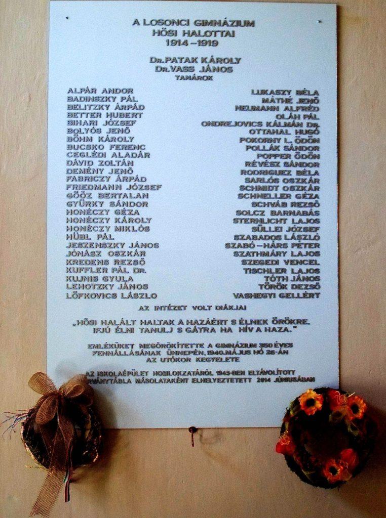 A losonci gimnázium hősi halottainak ÚJ emléktáblája