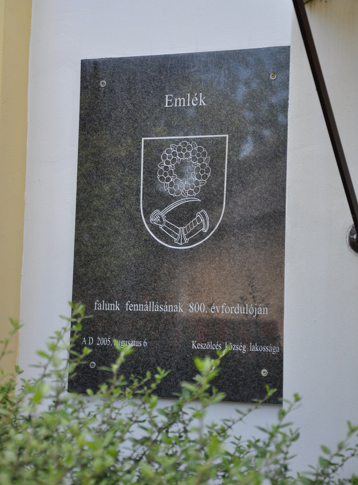 Emléktábla Keszölcés község fennállásának 800. évfordulójára