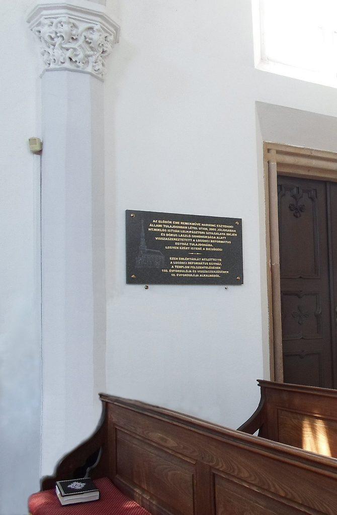 A losonci református templom felszentelése emléktáblája