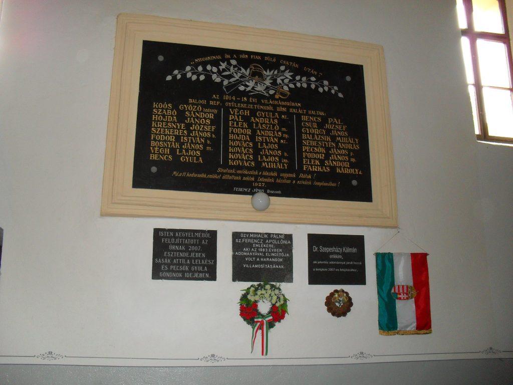 Az első világháborúban elesettek emléktáblája a református templomban