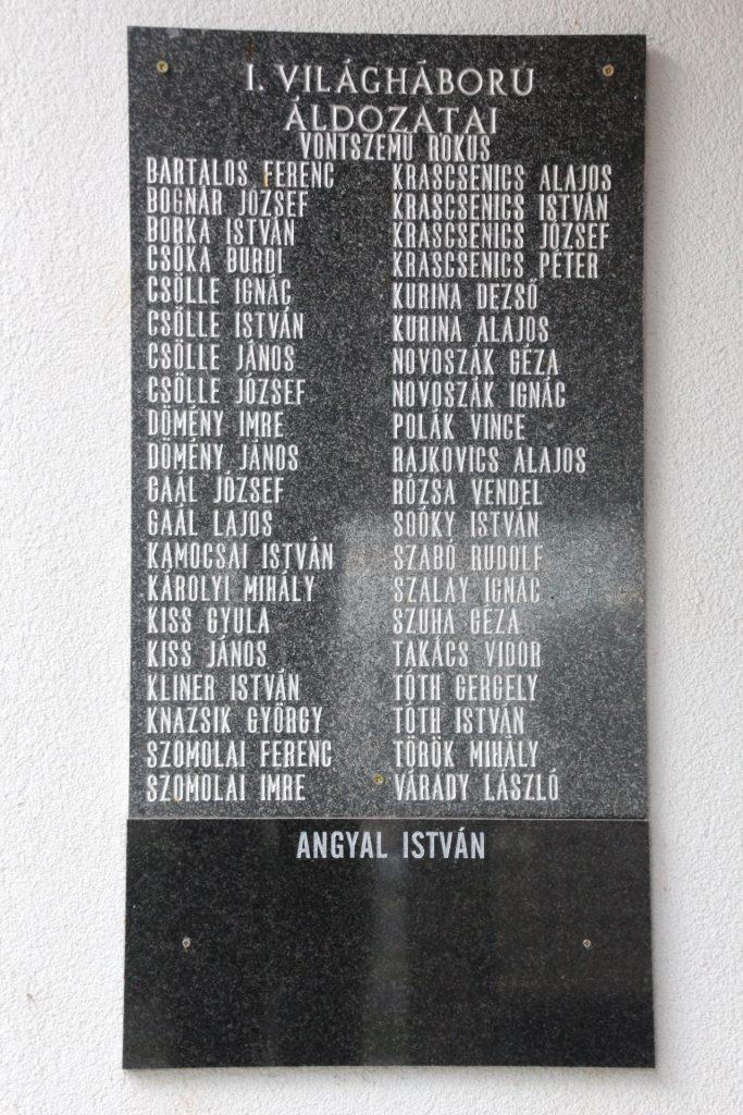 Az 1. világháborúban elesettek emléktáblája