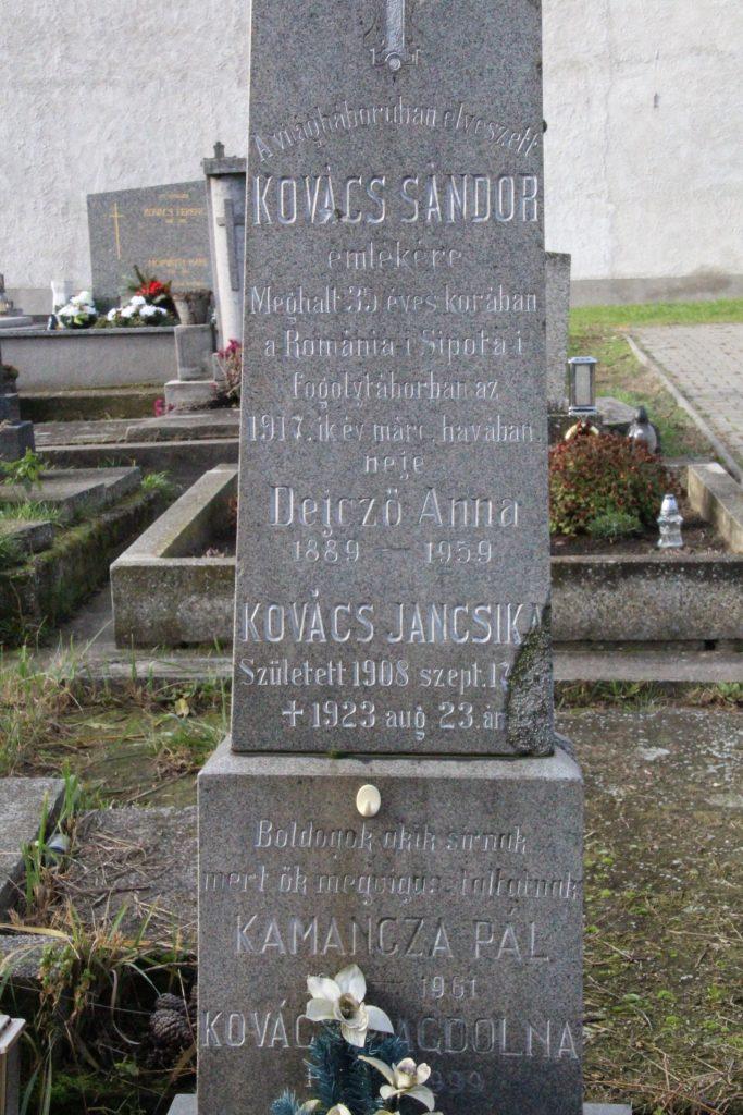 Kovács Sándor az első világháborús katona emlékjele