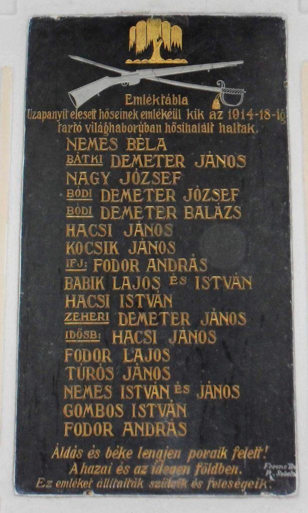Uzapanyit első világháborúban elesett hőseinek emléktáblája