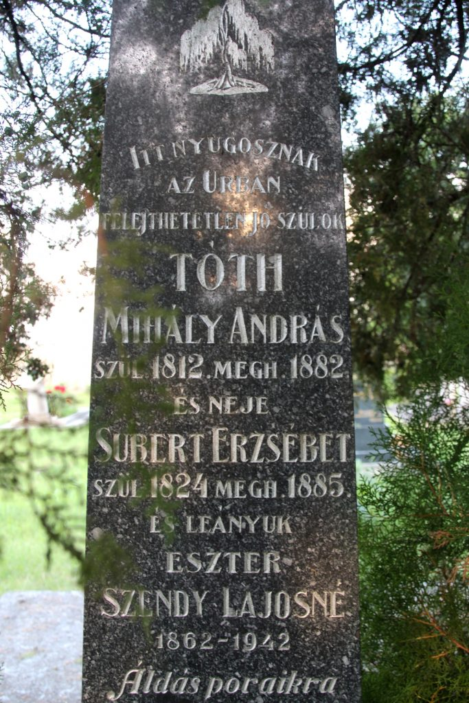 Tóth Mihály András és neje Subert Erzsébet sírja