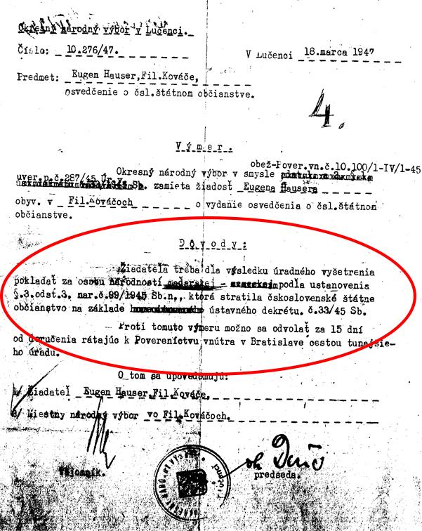 9. Zamietnutie žiadosti o československé občianstvo pre Jenőa Hausera