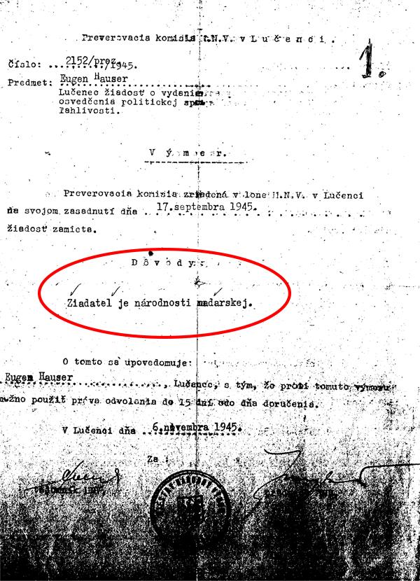 8. Zamietnutie žiadosti o osvedčenie pre Jenőa Hausera (1945)