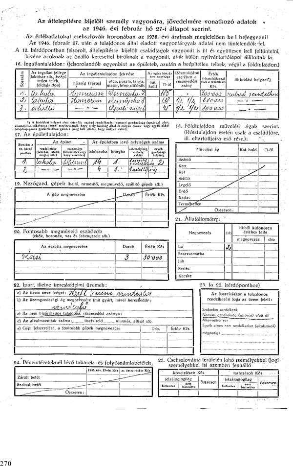 5. Záznamový list o rodinách určených na presídlenie a o ich majetku