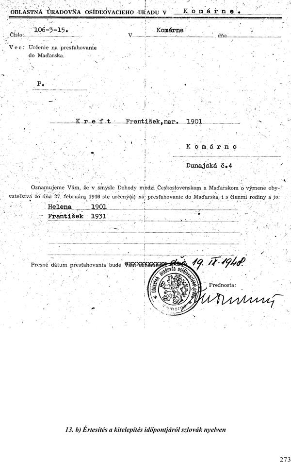 6. Oznámenie o dátume vysídlenia