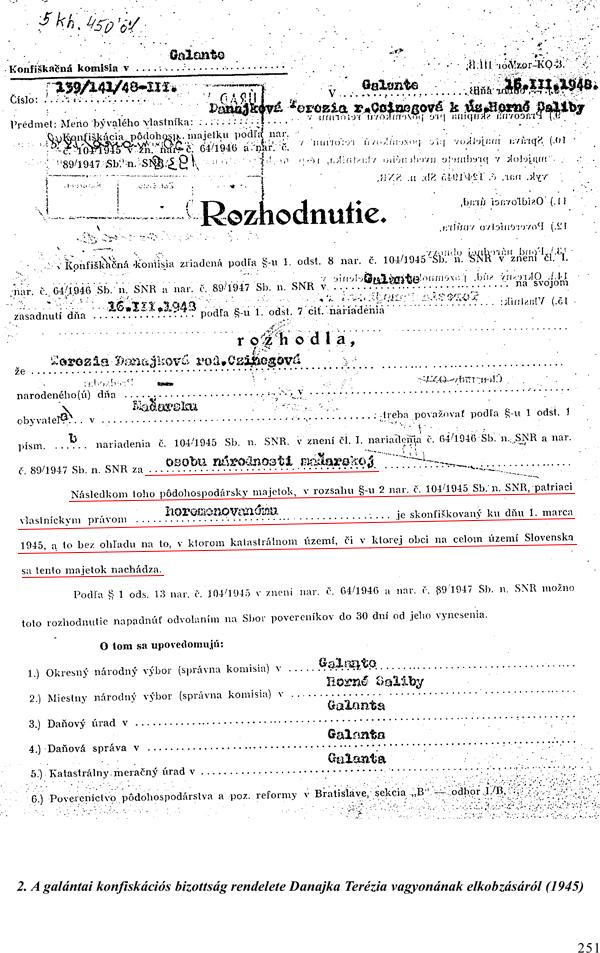 3. Rozhodnutie o zhabaní majetku Terézie Danajka, konfiškačná komisia zriadená v Galante (1945)