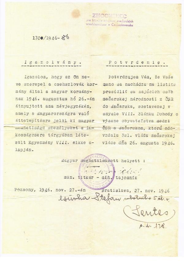 2. Potvrdenie o presídlení do Maďarska (1946)