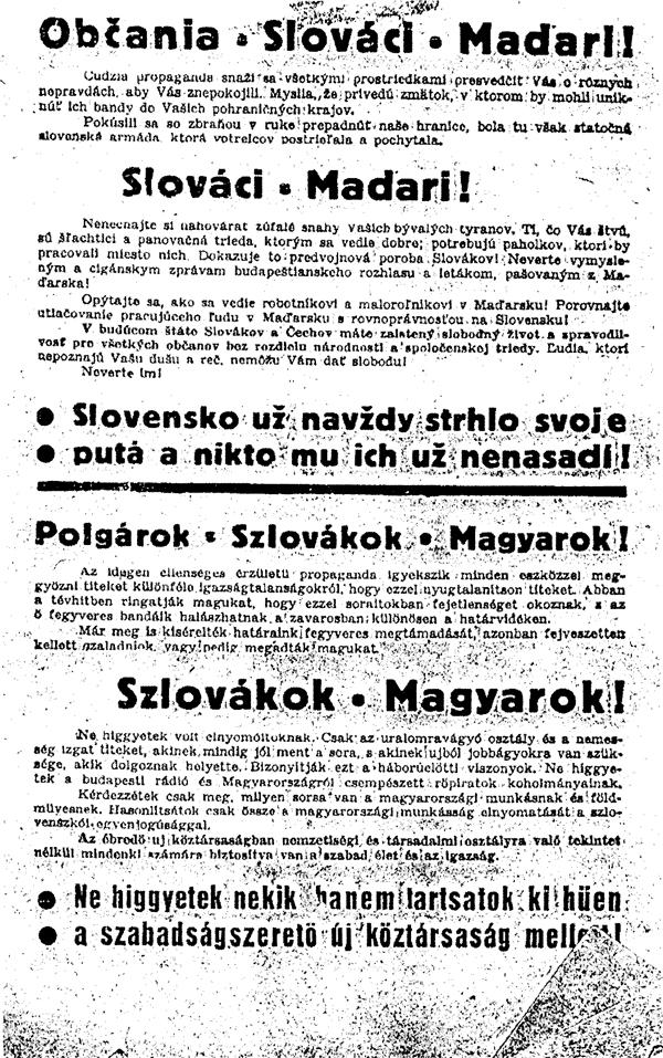 1. Dvojjazyčný leták o výhodách obnoveného Československa (1944-45)