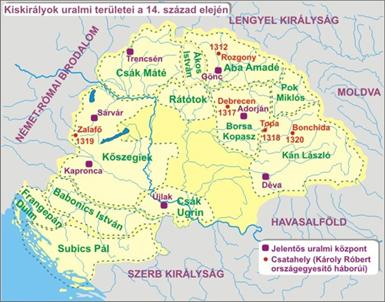Mapa uhorských veľmožov a území, ktoré ovládali (Uhorsko, začiatok 14. storočia).