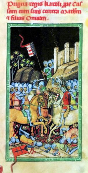 Bitka pri Rozhanovciach v Obrázkovej kronike z roku 1360 (maď. Képes Krónika)