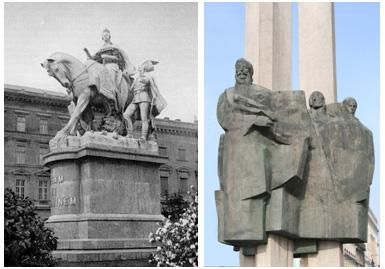 Bývalé súsošie Márie Terézie, dnes nahradené sochou Ľudovíta Štúra.