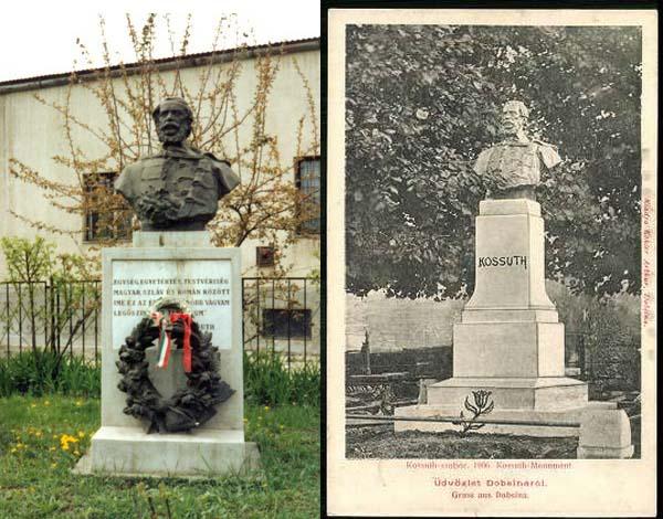 Socha Kossutha v Dobšinej na dobovej pohľadnici a socha dnes v obci Rudabánya v Maďarsku