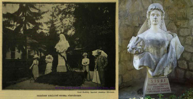 Piešťany: Bývalá socha cisárovnej Alžbety a jej nová podoba. Pôvodný maďarský nápis je dnes nahradený slovenským.