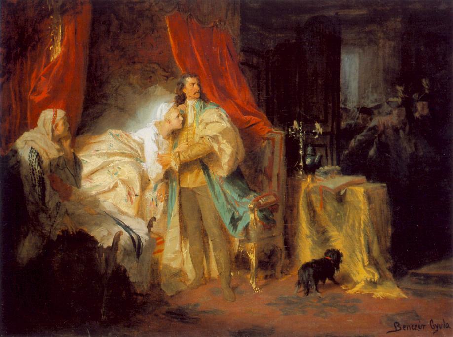 Benczúr Gyula: II. Rákóczi Ferenc elfogatása a nagysárosi várban, 1869 Gyula Benczúr: Zajatie Ferenca II. Rákócziho na šarišskom hrade, 1869