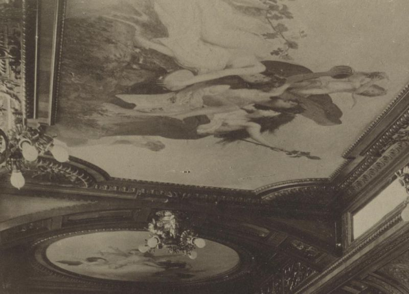 Maľba na strope jedálne zobrazujúca boha vína Baccha od Károlya Lotza