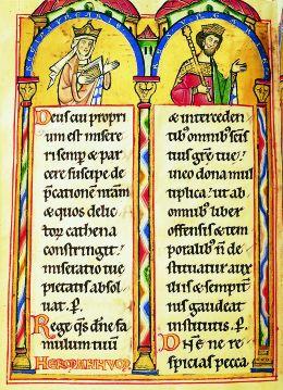 Kráľovná Gertrúda a kráľ Ondrej II. na liste kódexu pochádzajúceho z rokov 1211-1213. (Foto: Wikipédia)