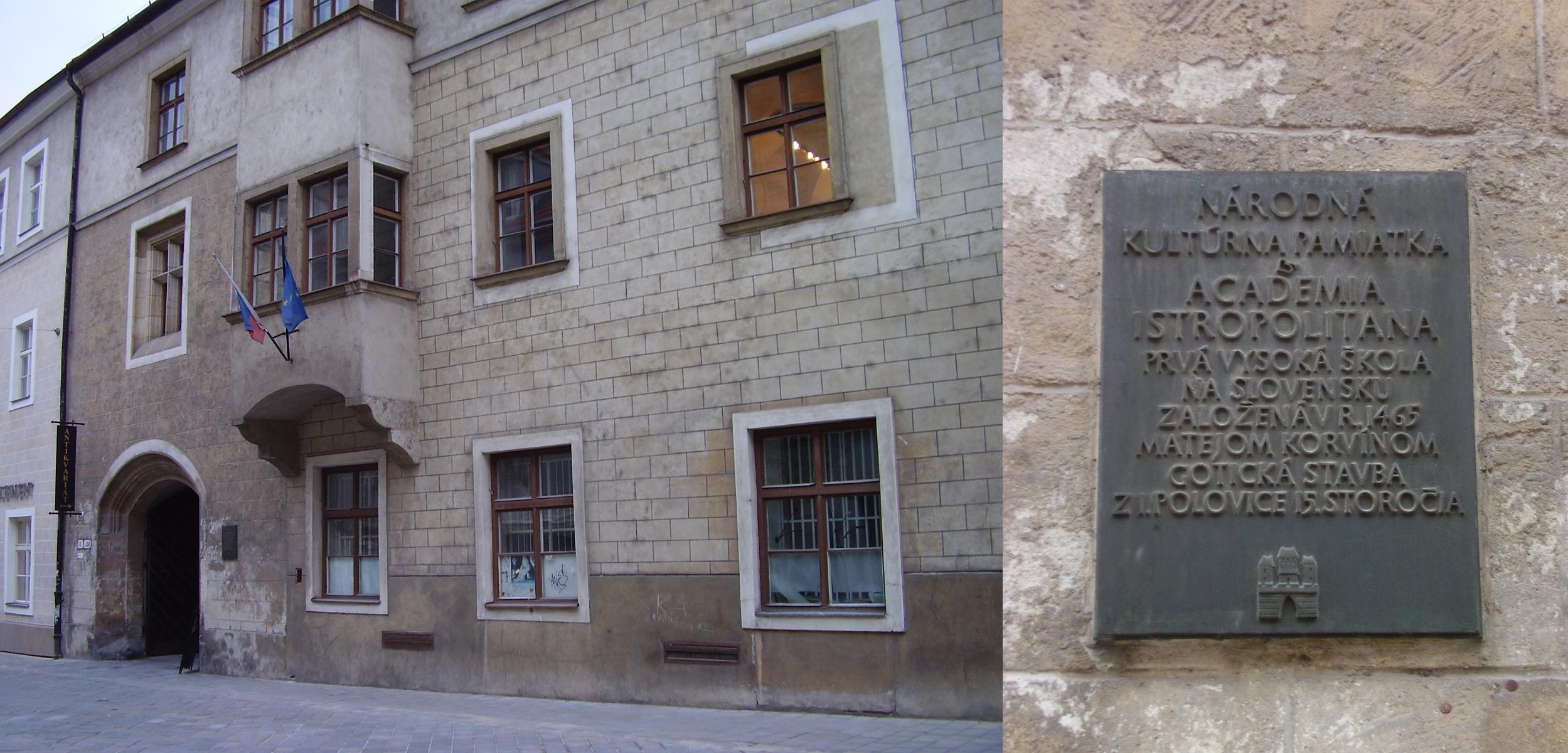Stará budova Academie Istropolitany slúži dnes mladým študujúcim divadelníkom na Vysokej škole múzických umení.