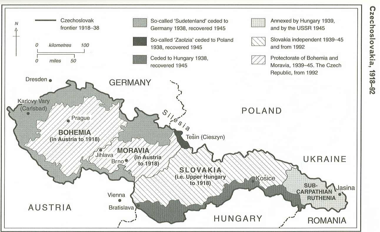 Zmeny hraníc Československa od roku 1918 do roku 1992