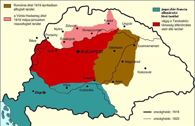 Vojenské úspechy Maďarskej republiky rád počas tzv. maďarsko-česko-slovenskej vojny/Északi hadjárat. Na mape slabo-červenou farbou vyznačené tie územia, ktoré obsadila Červená armáda/Vörös Hadsereg Maďarskej republiky rád medzi májom a júnom 1919