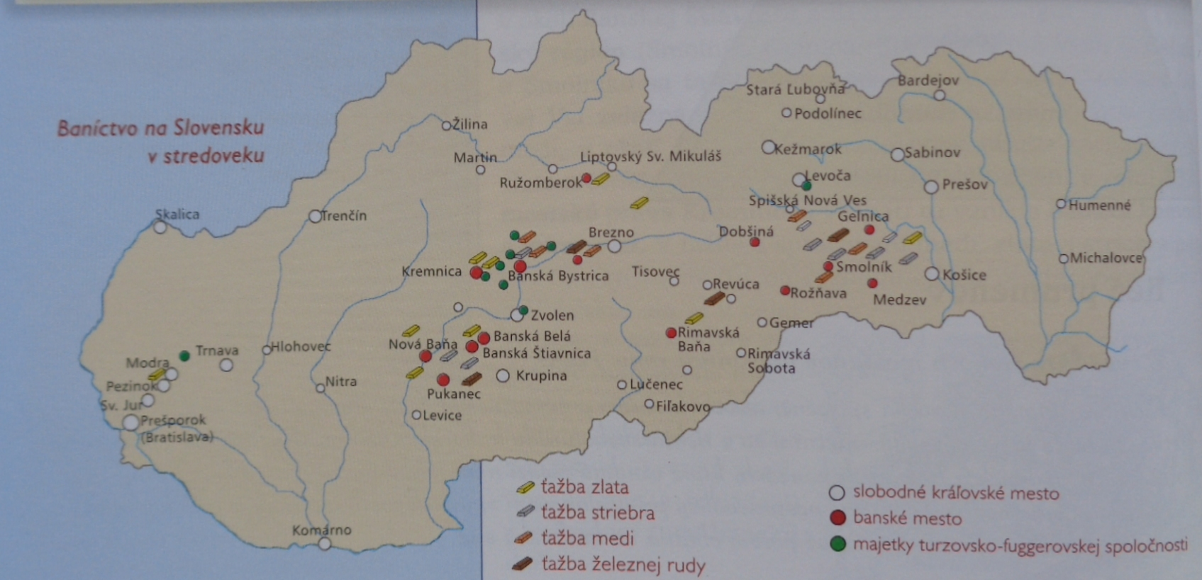 """""""Baníctvo na Slovensku v stredoveku"""" – autori učebnice navádzajú dojem, akoby Slovensko v stredoveku reálne existovalo, zároveň uvádzajú súčasné slovenské názvy obcí a miest, ktoré sa v tom čase určite nepoužívali."""