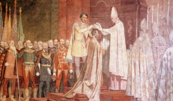 Bertalan Székely: A király koronázása (Korunovanie kráľa; cca. 1867). Na nástennej maľbe gróf Gyula Andrássy vkladá svätoštefanskú korunu na hlavu cisára Františka Jozefa.