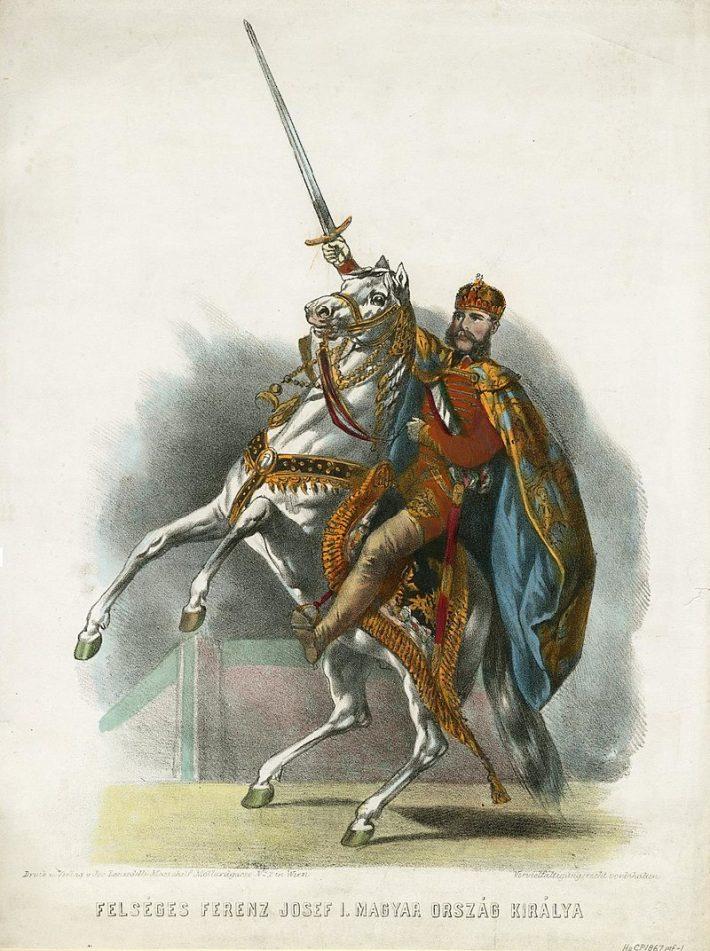 František Jozef ako uhorský kráľ. Farebná litografia od Josefa Lanzedelliho (cca. 1867).