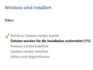 Windows 10 - Durchführen der Installation