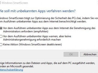 SmartSreen Filter Windows 10 Optionen