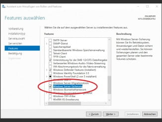 Installation der Windows Server Sicherung im Server 2016