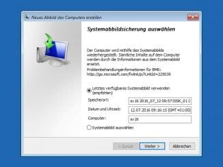 Windows Server Sicherung - Auswahl der zu wiederherstellenden Sicherung