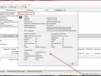 Rootserver Zugriff per FTP mit TLS - Anzeige des Zertifikats