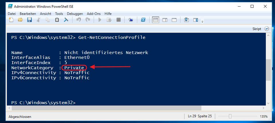 Window Netzwerkprofil mit der PowerShell ändern - Anzeige des Netzwerprofil