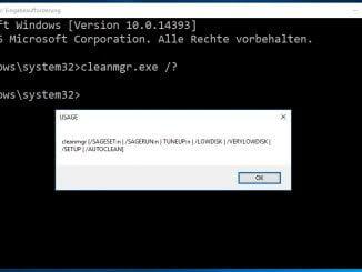 Windows 10 Datenträgerbereinigung per cmd: cleanmgr.exe Hilfe