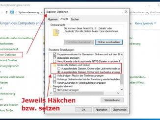 Windows - Versteckte Dateien anzeigen, Ordneroptionen, Systemdateien anzeigen lassen