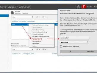 Den Windows Hyper-V Core Server zu den zu verwaltenden Server mitaufnehmen: Verwalten als..