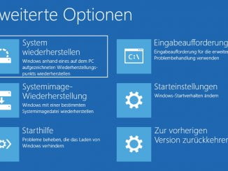 Windows 10 - Optionen beim erweiterten Start