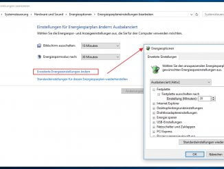 Windows 10 Energieoptionen - erweiterte Einstellungen z.B. adaptive Helligkeit