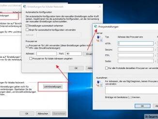 Windows 10 Proxy Server Einstellungen konfigurieren - Mehrere Proxy Server mit Ports und Protokolle angeben