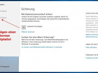 Kontinuierliche Datensicherung unter Windows 10 mit dem Dateiversionsverlauf: Hinzufügen einer externen Festplatte