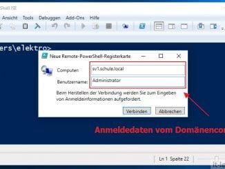 Mit der Windows PowerShell eine Remoteverbindung erstellen: Über die PowerShell ISE: SV Name