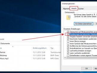 Anzeige der Dateinamenserweiterungen unter Windows: Ordner- und Suchoptionen - Dateiendungen ausblenden