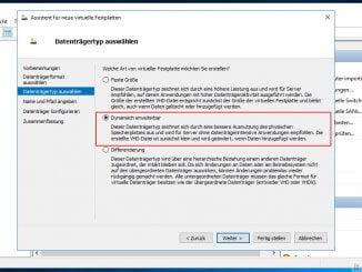 Mit dem Hyper-V Manager eine neue virtuelle Festplatte anlegen: Auswahl Festplatteneigenschaften