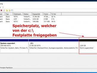 Unter Windows 10 eine Festplatte verkleinern - Nach dem verkleinern wird der Speicherplatz als nicht zugeordnet angezeigt