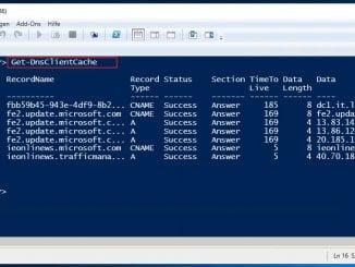 Mit der Windows PowerShell den lokalen DNS-Cache auslesen - Get-DnsClientCache